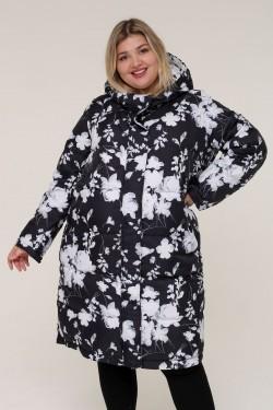 Женская зимняя куртка 203-01 Белые цветы на черном