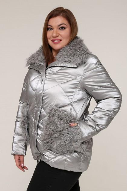 Женская зимняя куртка 20436 Серый , большие размеры