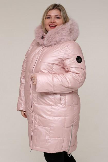 Женская зимняя куртка 20542 Розовый , большие размеры