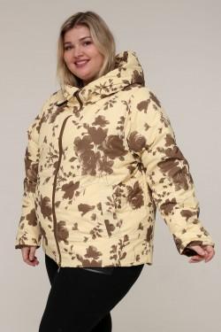 Женская зимняя двухсторонняя куртка 203-122 Цветы бежевые