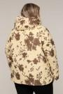Женская зимняя двухсторонняя куртка 203-122 Цветы бежевые , большие размеры