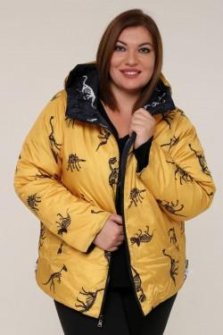 Женская зимняя двухсторонняя куртка 203-122 Динозавр Желтый