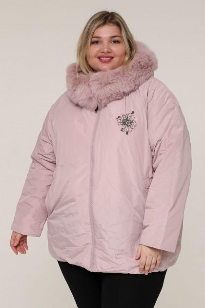 Женская зимняя куртка А-165 Розовый , большие размеры
