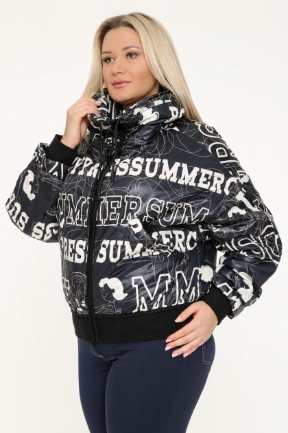 Куртка женская, фасон укороченный-бомбер 19682, Надписи Черный