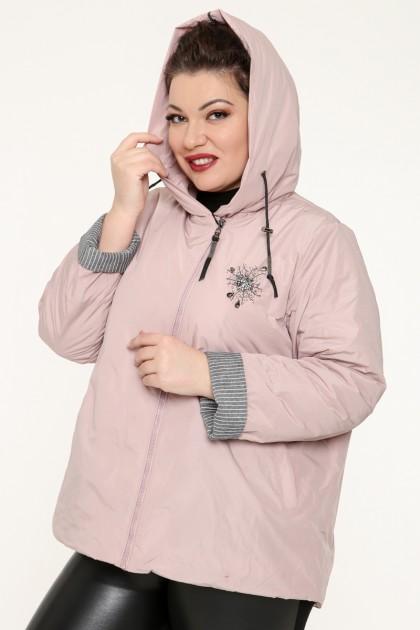 Куртка женская, фасон укороченный с манжетами, 129-27, Розовый