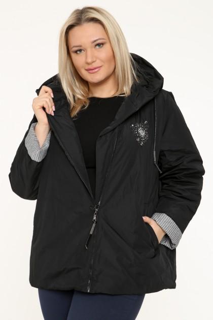 Куртка женская, фасон укороченный с манжетами, 129-27, Черный