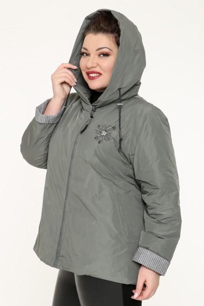 Куртка женская, фасон укороченный с манжетами, 129-27, Хаки