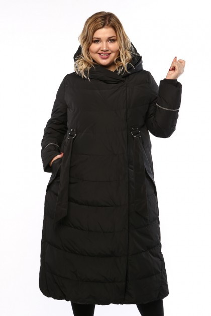 Женское пальто, 19326, Черный , большие размеры