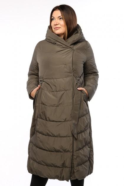 Женское пальто, 19326, Хаки , большие размеры