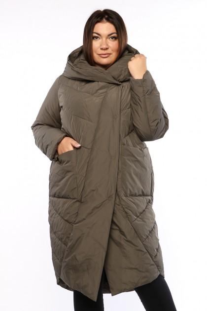 Женское пальто, А 212, Хаки , большие размеры