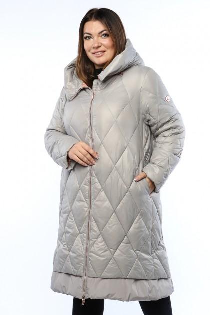 Женское пальто, 19215, Серый , большие размеры
