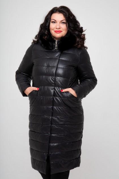 Женское пальто эко-кожа, 18-608, Черный