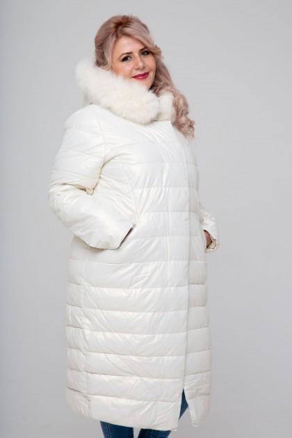 Женское пальто эко-кожа, 18-608, Белый