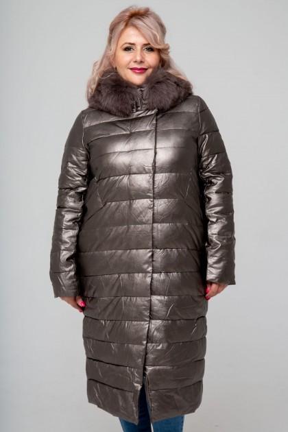 Женское пальто эко-кожа, 18-608, Платина