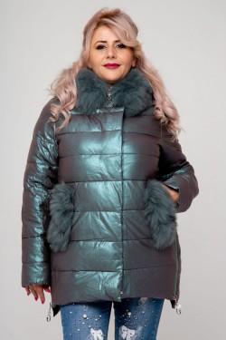 Женское полупальто эко-кожа, 18-507, Хамелеон Зеленый
