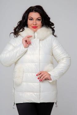 Женское полупальто эко-кожа, 18-507, Белый