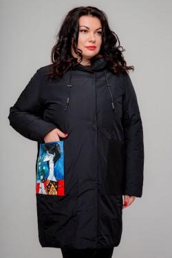 Женское полупальто, А-201 Арт Черный