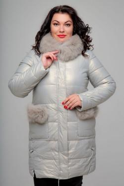 Женское полупальто, 18-470, Хамелеон Белый