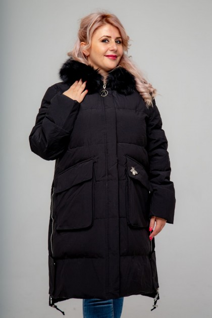 Женское пальто, 18-632 Декор Муха, Черный
