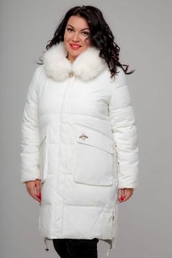 Женское пальто, 18-632 Декор Муха, Белый