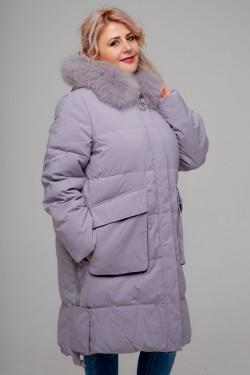 Женское пальто, 18-632 Декор Муха, Сиреневый