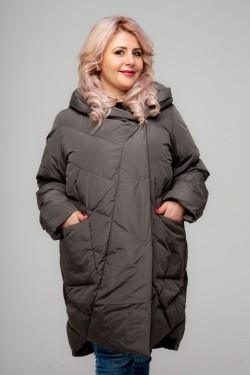 Женское пальто-одеяло короткое, А-211, Капучино