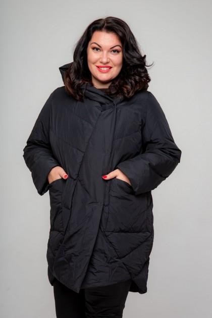 Женское пальто-одеяло короткое, А-211, Темное море