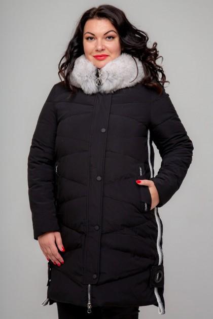 Женское пальто, 18-477, Черный+Белый мех