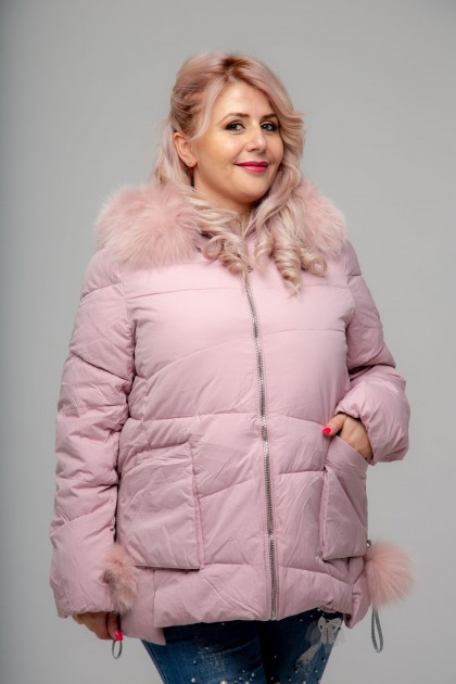 Женская куртка, 17-253 Бубоны, Пудра  , большие размеры