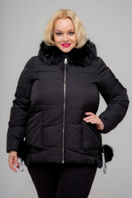 Женская куртка, 17-253 Бубоны, Пудра Черный , большие размеры