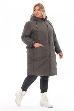 Женская удлиненная зимняя куртка 212-71 Хаки