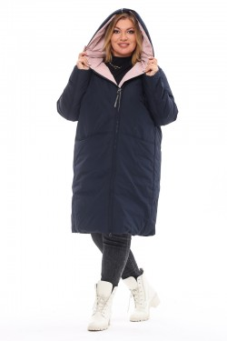 Женская удлиненная зимняя куртка 173 Синий+чайная роза