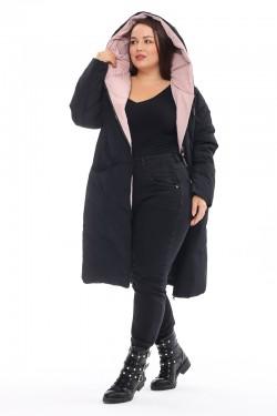 Женская удлиненная зимняя куртка 173 Черный+чайная роза