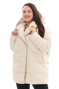 Женская удлиненная зимняя куртка 21231 Молоко