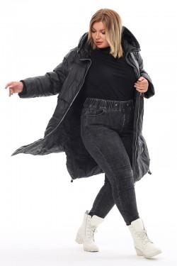 Женская удлиненная зимняя куртка 212-18 Черный
