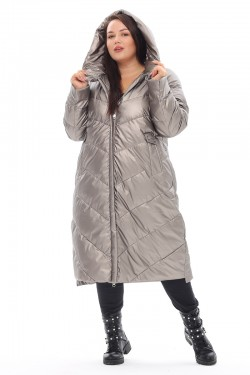 Женская удлиненная зимняя куртка 21112 Серебро