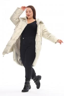 Женская удлиненная зимняя куртка 212-18 Жемчуг