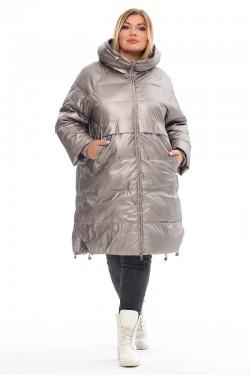 Женская удлиненная зимняя куртка 212-18 Серебро
