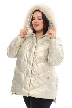 Женская удлиненная зимняя куртка 21188 Жемчуг