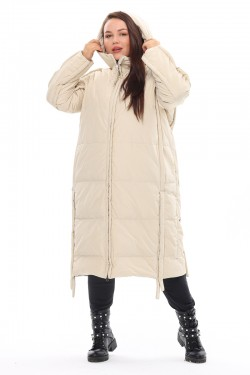 Женская удлиненная зимняя куртка 212-08 Молоко