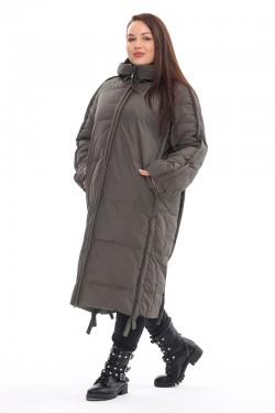 Женская удлиненная зимняя куртка 212-08 Хаки